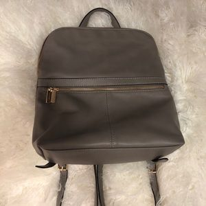 Gray faux leather medium backpack